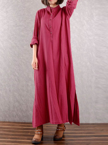 Vintage Side Slit Maxi Dresses-Newchic-