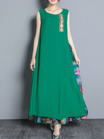 Vintage Sleeveless Patchwork Women Long Maxi Dresses-Newchic-