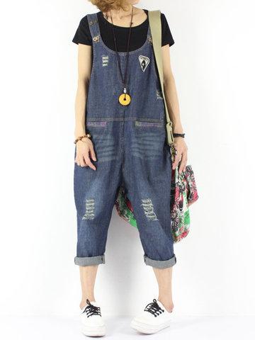 Vintage Strap Holes Denim Jumpsuits-Newchic-