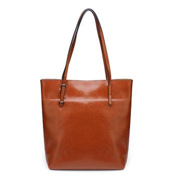 Vintage Women Black Brown Oil Waxing Cowhide Leather Handbag-Newchic-