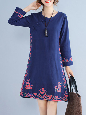 Vintage Women Embroidery Dress-Newchic-