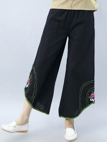 Vintage Women Embroidery Elastic Waist Wide Leg Pants-Newchic-