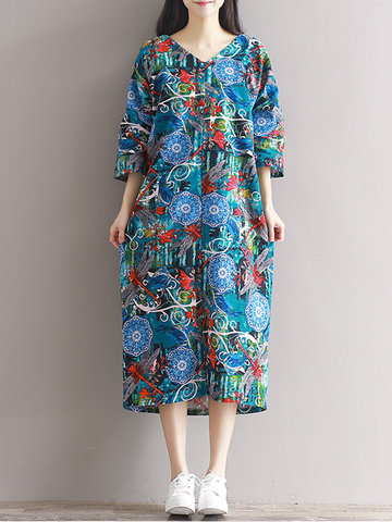Vintage Women Ethnic 3/4 Sleeve O Neck Print Dresses-Newchic-