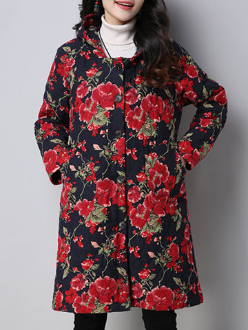 Vintage Women Flower Printed Hooded Coat-Newchic-