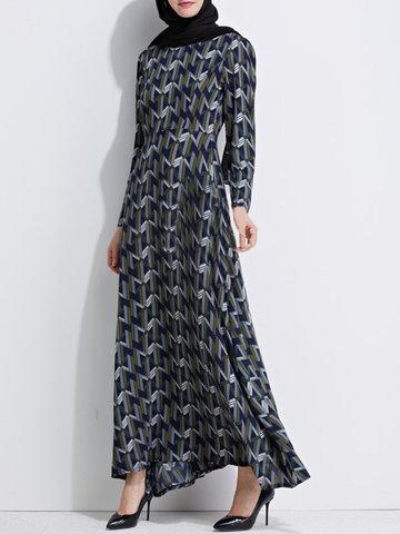 Vintage Women Geometric Print Asymmetrical Long Sleeve Maxi Dress-Newchic-