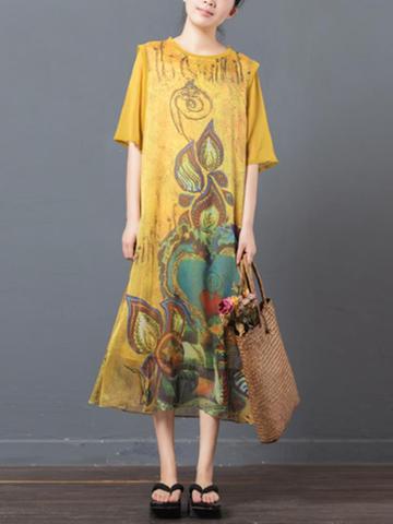 Vintage Women O Neck Half Sleeve Print Dresses-Newchic-