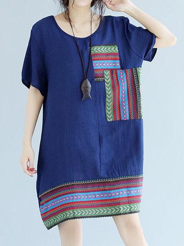 Vintage Women Patchwork Short Sleeve O-neck Dresses-Newchic-