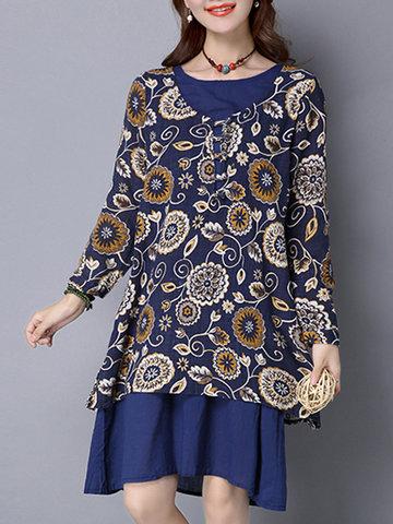 Vintage Women Print Patchwork Long Sleeve Button Dress-Newchic-