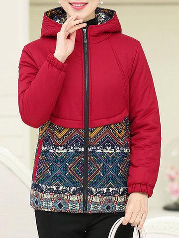 Vintage Women Printed Hooded Zipper Coat-Newchic-