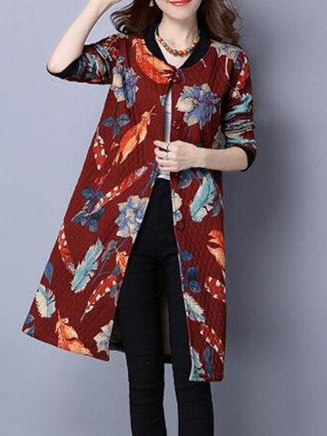 Vintage Women Printed Long Coat-Newchic-