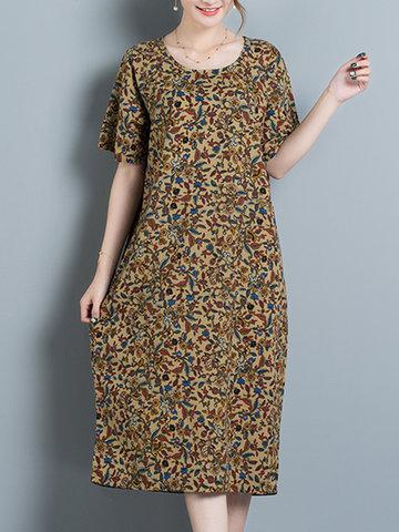 Vintage Women Printed Short Sleeve Mid-Long Dresses-Newchic-