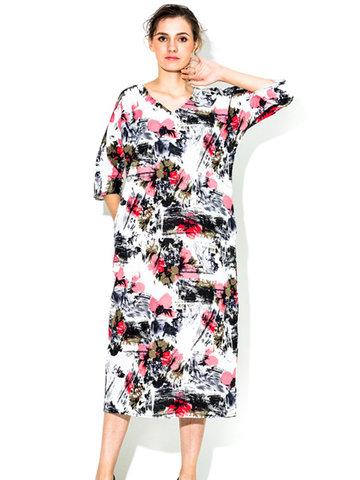 Vintage Women Printed V-Neck Dress-Newchic-