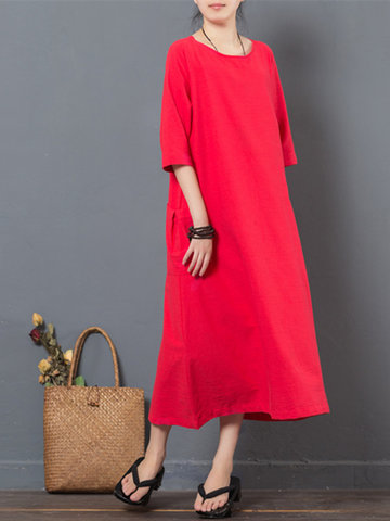 Vintage Women Pure Color Half Sleeve Pocket Maxi Dresses-Newchic-