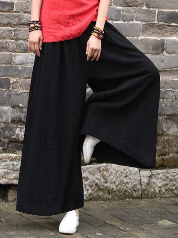 Vintage Women Solid Elastic Waist Drawstring Wide Leg Pants-Newchic-