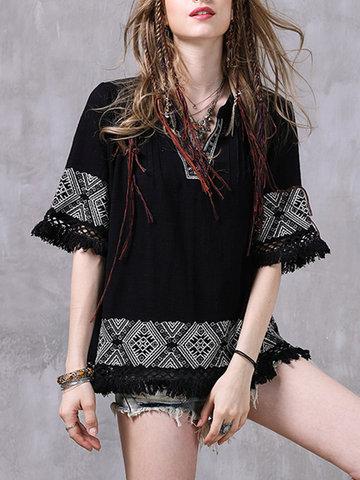 Vintage Women V-Neck Half Sleeve Embroidery Tassel Shirt-Newchic-