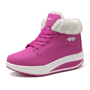 Warm Fur Lining Rocker Sole Platform Boots Casual Shoes-Newchic-Multicolor