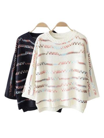 Wave Crochet Long Sleeve Sweaters-Newchic-