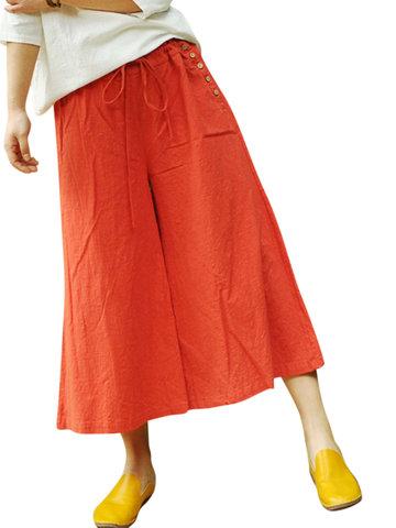 Wide Leg Drawstring Waist Women Pants-Newchic-
