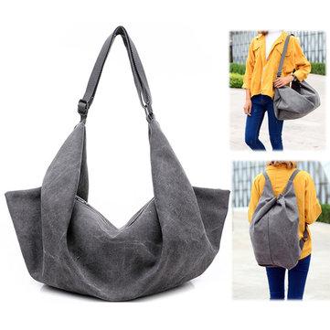 Woman Fashion Dual-use Canvas Solid Handbag Big Capacity Backpack Tribal Rucksack-Newchic-