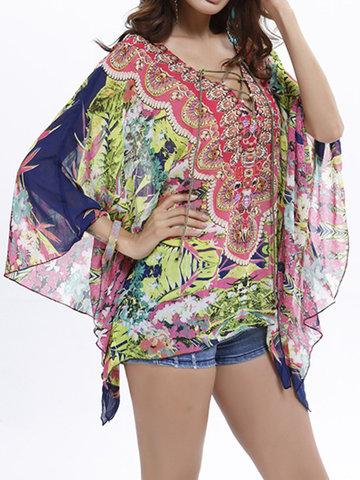 Women Batwing Sleeve V-Neck Lace Up Chiffon T-shirts-Newchic-