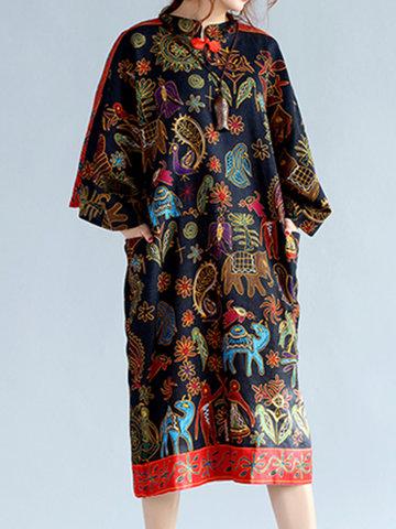 Women Batwing Sleeve Vintage Floral Printed Pocket Loose Dresses-Newchic-