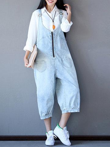 Women Blue Strap Zipper Pockets Jumpsuits Overalls-Newchic-