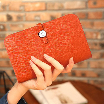 Women Candy Color Genuine Leather Multi-slots Wallet Purse Clutch-Newchic-