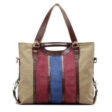 Women Canvas Rainbow Stripe Handbag Outdoor Casual Tote Bag Picnic Bag Crossbody Bag-Newchic-