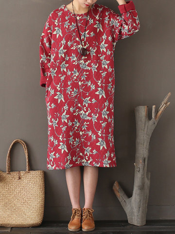 Women Casual Loose Floral Printed O-Neck Long Sleeve Dresses-Newchic-