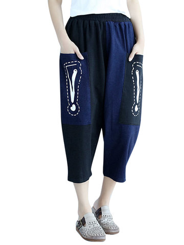 Women Casual Loose Patchwork Bang Big Pocket Pants-Newchic-