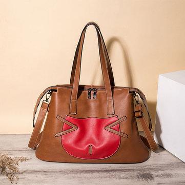 Women Casual PU Leather Cat Print Handbag-Newchic-