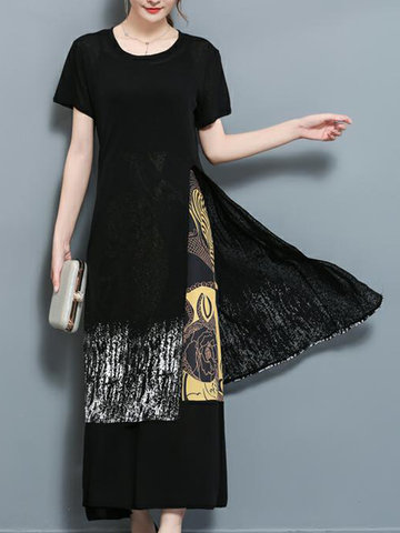 Women Casual Patchwork Two-Piece Maxi Slit Dresses-Newchic-
