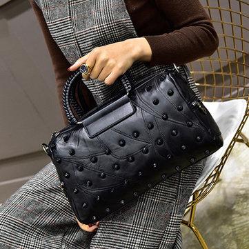 Women Casual Stiching Sheepskin Handbags-Newchic-