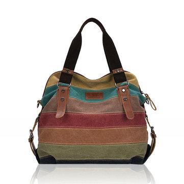 Women Casual Stripe Canvas Contrast Color Multi-pocket Handbag Shoulder Bag-Newchic-