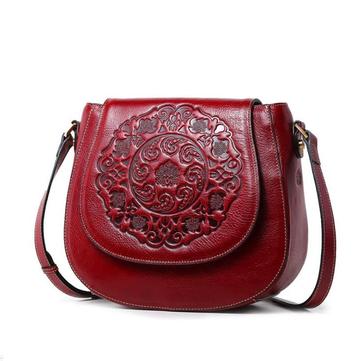 Women Causal Flower Print Cowhide Leather Bag-Newchic-