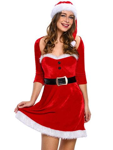 Women Christmas Faux Fur Patchwork Solid Color Suit-Newchic-