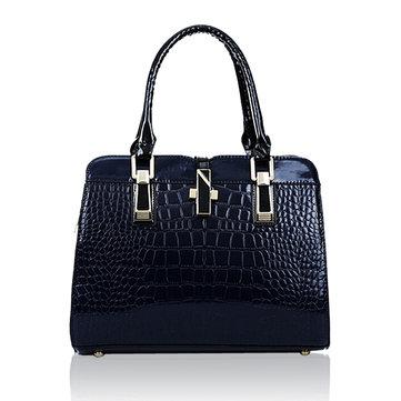 Women Crocodile Pattern Patent Elegant Handbag Casual Shoulder Bag-Newchic-