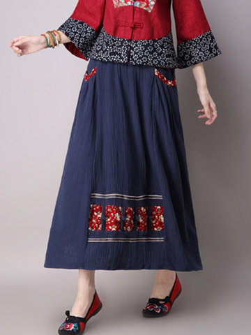 Women Elastic Waist Patchwork Skirts-Newchic-