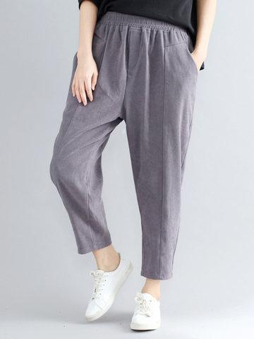 Women Elastic Waist Suede Pants-Newchic-