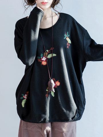 Women Embroidery Pullover Sweatshirt-Newchic-