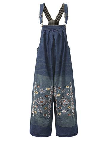 Women Embroidery Strap Denim Jumpsuits-Newchic-