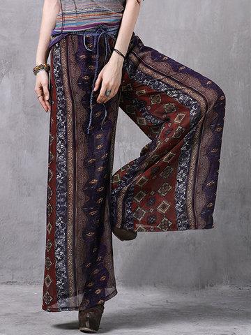 Women Ethnic Printed Elastic Waist Chiffon Wide Leg Pants-Newchic-