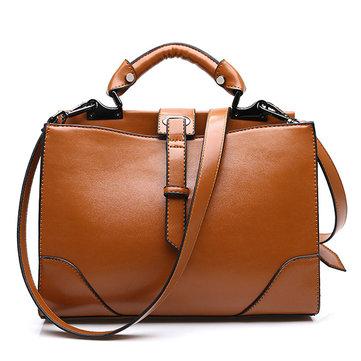 Women Fashion PU Oil Wax Large Capacity Handbag-Newchic-