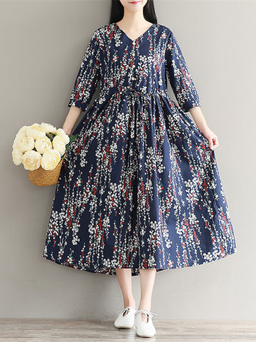 Women Floral Printed 3/4 Sleeve Drawstring Vintage Dresses-Newchic-
