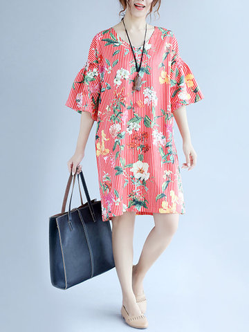 Women Floral Printed Half Sleeve V-Neck Stripe Dresses-Newchic-