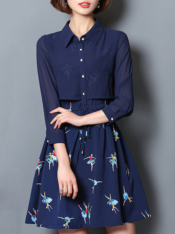 Women Floral Printed Long Sleeve Buttons Chiffon Mini Dresses-Newchic-