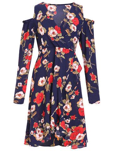 Women Floral Printed V-Neck Long Sleeve Off Shoulder Dresses-Newchic-