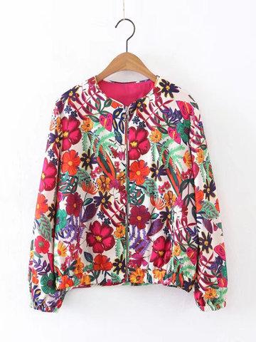 Women Flower Printed Zipper Jacket-Newchic-