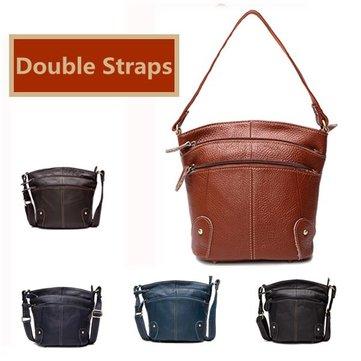 Women Genuine Leather Bucket Bag-Newchic-