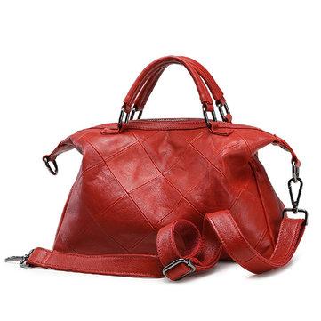 Women Genuine Leather Grided Shoulder Bag-Newchic-